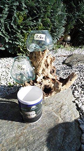 Kenai-Deko Liqva Doppel, Wurzelholz Designer-Vase 2er, Gamal, Teakholz, Dekoglas 2er,Wurzelholz Glasvase 2er,Liqvavase double,Gamal due,root molten vase 2er