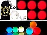 5x Glow jonglierbälle leuchtend, Led jonglierbälle - Profi LED bälle+ Reisetasche! Weiß