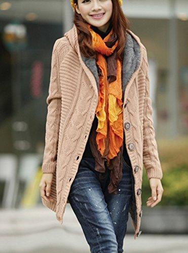 EVERY Epais Hiver Tricot Torsadé Cardigan Tricoté Haut Femme Plus La Taille Câble Manches Longues Pulls Kaki