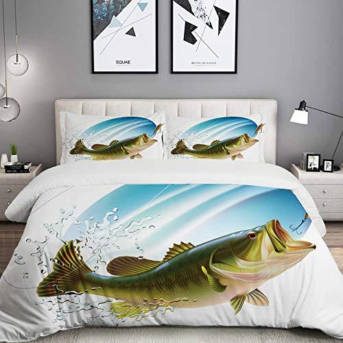 ELIENONO Bettwäsche-Set,Fischen Forellenbarsch,der einen Biss im Wasser-Spray-Bewegungs-Spritzen-Wilden Bild fängt,Dekoratives 3-teiliges Bettwäscheset mit 2 Kissenbezügen,Einzelgröße(135 x 200cm) -