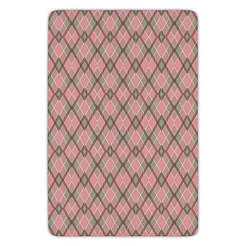 5e978604b627b JIEKEIO Bathroom Bath Rug Kitchen Floor Mat Carpet,Abstract,Old Checkered  Tartan Pattern Scottish Royal Folk Culture Stripes Ethnic Image,Taupe ...