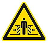 Warnzeichen - Warnung vor Quetschgefahr - Folie Selbstklebend - 10 x 10 cm