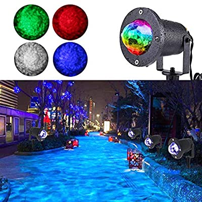1KOOT Outdoor Water Ripples Light LED Disco Strobe Lights?7 Color Water Ripple Effects Stage DJ Party Light for KTV ClubBar Club Family Outdoor Indoor Party Gym Wedding.