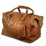 Große Reisetasche / Weekender Größe L aus Nappa-Leder, für Damen und Herren, Cognac-Braun, Jahn-Tasche 697