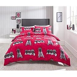 linensrange Pugs–Natural/Rosa/Mono impreso colcha funda de edredón juego de cama con fundas de almohada de S/D/K/s.k, Rosa, doble