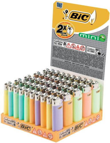 BIC Feuerzeug Reibrad Mini J25, neutral, pastell, 50er Packung, 1er Pack (1 x 50 Stück)