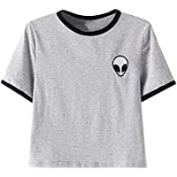 Sannysis Aliens stampa 3d raccolto T-shirt manica corta cime delle donne