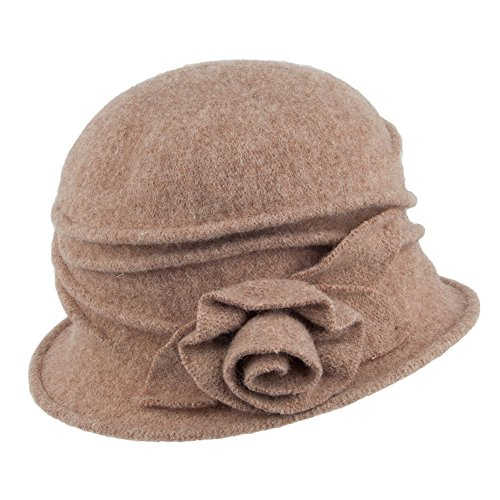 8ced1d77d0dcd Village Hats Sombrero Cloche de Lana con Rosa Decorativa de Scala - Nuez  Pecana - Talla