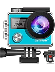 Campark X20 Action Cam 4K 20MP WiFi Touchscreen Waterproof Sports Camera Underwater Camera with Dual 1050 mAh Batteries and Many Accessories Compatible with GoPro (Blue)