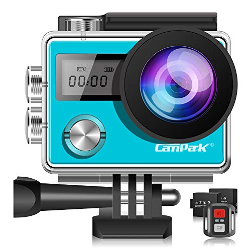 Campark Action Cam X20 HD 20MP 4K WIFI Action Camera Touch Screen Macchina Fotografica Subacquea 30M con Custodia Impermeabile, Doppio Schermo LCD, Remote Control, EIS e Kit Accessori-Blu