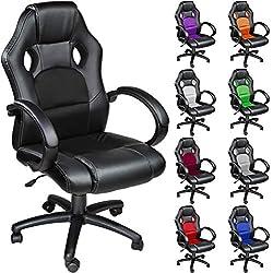 TecTake Chaise fauteuil siège de bureau hauteur réglable sportive - diverses couleurs au choix - (Noir)