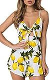 ECOWISH Jumpsuit Damen Elegant Kurz Blumenmuster Overall Einteiler Sommer V-Ausschnitt Strand Romper Jumper Weiß M