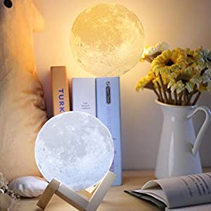 Full Moon Lamp 3D LED Night Modern Floor Lamp Dimmable Touch Control Brigntness USB Charging White/Warm Light luna moon lamp With Stand 10cm by Dealbay
