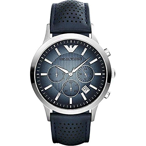 Emporio Armani Men's Quartz Watch with Blue Dial Chronograph Display and Blue Leather Bracelet AR2473