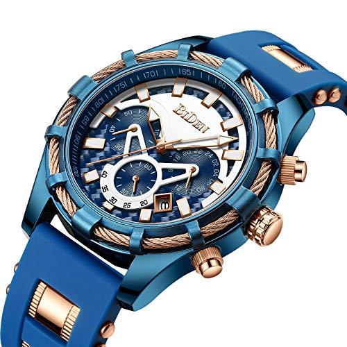 Montres Hommes,Multifonction Sport Luxe Montres à Quartz Classique étanche Chronographe Calendrier avec Bande de Silicone Bleu