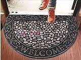 WXDD Halbkreis europäischen Gummi Beflockung Tür, Fußmatte, Villa, Gepolsterte Matratze, Fußmatte, Fußmatte, Rutschfeste, Türöffnung, und der Erde, 56 cm × 120 cm, Halbrund Schwarz Stein