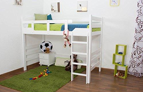 """Kinderbett / Hochbett """"Easy Möbel"""" K14/n, Buche Vollholz massiv Weiß – Maße: 90 x 190 cm"""