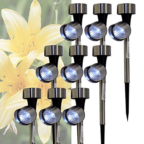 9er Set LED Solar Pflanzenleuchte Edelstahl Garten Leuchte Solarlampe Lampe Solarleuchte