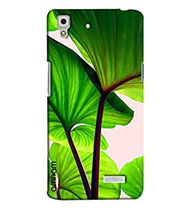 Omnam Tree Green Leaves Closeup Effect Printed Designer Back Cover Case For Oppo R7