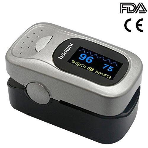 Jumper 500A Fingerpulsoximeter Herzfrequenzmesser Pulsoximeter für Sport, Home Health Care - Einschließlich Lanyard, Silikon Cover und Batterien