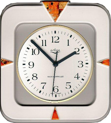 Küchenuhr Funkuhr 'Tapetendekor Goldwürfel' viereckig Zierung Dreiecken Artline Uhr