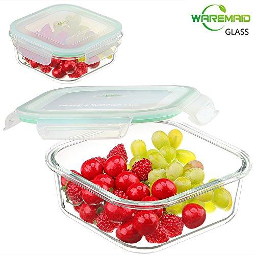 Envases de vidrio para alimentos, Contenedor de preparación de comidas WAREMAID, Envases de alimentos, Envases con tapa, 100% libre de BPA, Hermético, Prueba de fugas, Microondas, Horno, Congelador, Lavavajillas Saf