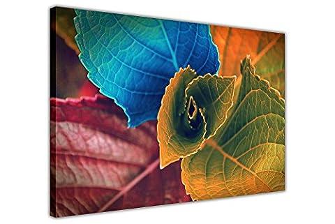 Farbige Blätter auf gerahmtes Leinwandbild Blumenmuster Art Bilder, 03- A2