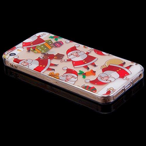 Custodia Cover iPhone 5/5S/SE Silicone Morbida,Ukayfe HD Trasparente Cristallo di Lusso di Crystal Colorato Pittura Disegno per iPhone 5/5S/SE Clear Flexible TPU Gel Ultra Sottile Copertura Case Prote Babbo Natale