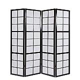 Homestyle4u 282 Paravent 4 teilig Raumteiler 4 fach Holz Schwarz Shoji Reispapier weiß Trennwand Spanische Wand Sichtschutz zusammenklappbar