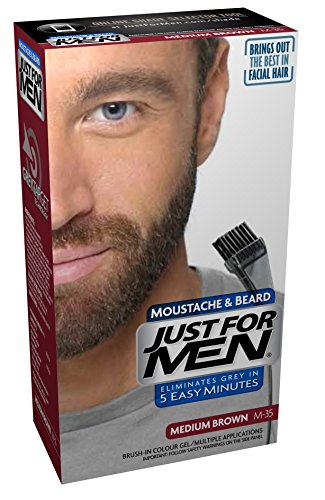 Just For Men - Tinte de barba y bigote para hombre, color marrón medio (M35), 1/ paquete