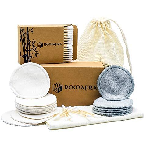 Set Struccante 16 Dischetti Bamboo Levatrucco Esfolianti Riutilizzabili Lavabili No Waste, 100 Cotton Fioc correggi eyeliner, 1 Pannetto Viso 100% Bambu