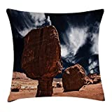 DANCENLI House Decor Throw Pillow Cushion Cover by, Little Grand Canyon Rocks in The Field by Erosion and Wind Habitat Concept, Decorative Square Accent Pillow Case, 18 X 18 Inches, Bronze Blue