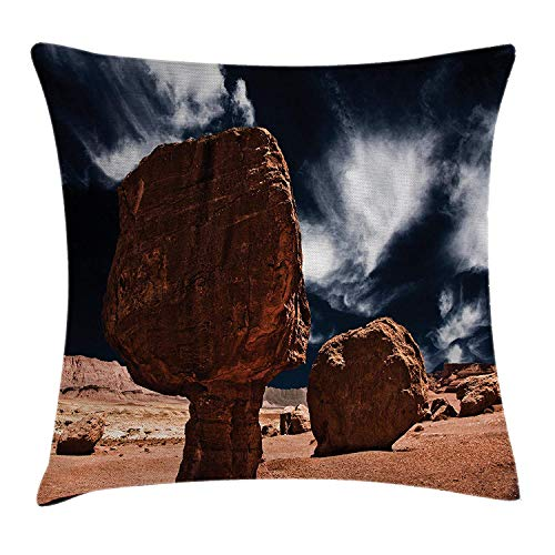 VTXWL House Decor Throw Pillow Cushion Cover by, Little Grand Canyon Rocks in The Field by Erosion and Wind Habitat Concept, Decorative Square Accent Pillow Case, 18 X 18 Inches, Bronze Blue
