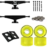 "Longboard Skateboard Trucks Combo Set 70mm Bigfoot Pathfinder Wheels With Polished Or Black Trucks, Bearings, And Hardware Package (70mm Yellow Wheels, 7.0 (9.63"") Black Trucks)"