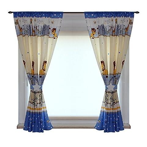 Kinderzimmer Vorhänge Gardinen 2er SET 155 x 155 cm Dekoschal mit Zierband und Stern, Farbe: Imagine Blau, Größe: ca. 155x155