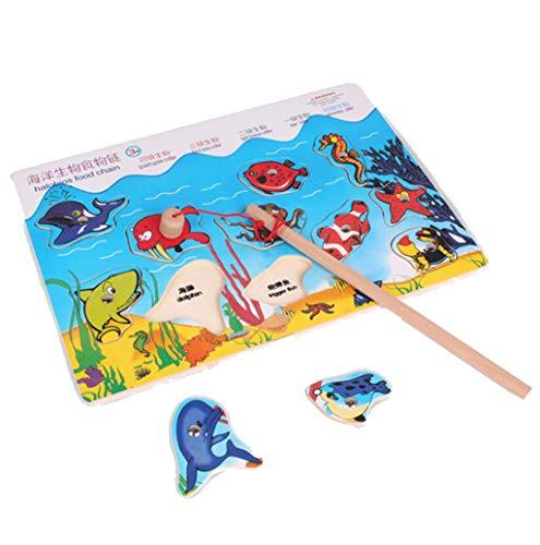 Juguetes educativos para niños,CHshe❤❤,Juego de pesca de madera magnética Halobios Cadena alimentaria (11 Imanes de animales de madera del océano, 1 caña de pescar) (vistoso)