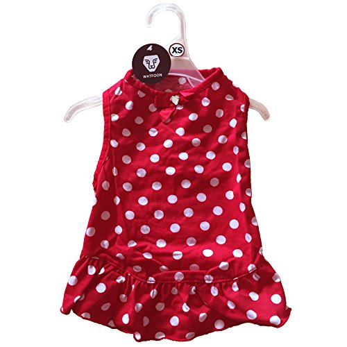 watfoon Baumwolle Hund Kleid für Welpen und kleine Hunde, Bling Schleife Cute Dots Prinzessin Kleid für Mädchen Hunde mit Gratis Apparel Aufhänger (Mädchen Hund Weihnachten Kleidung)