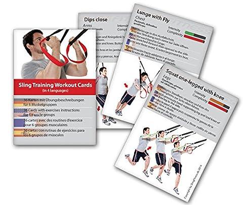 Variosling® Cartes d'entraînement avec 54 exercices différents pour sangles de suspension / Sling-Trainer | jeu de cartes, plan de formation / musculation, cartes du workout