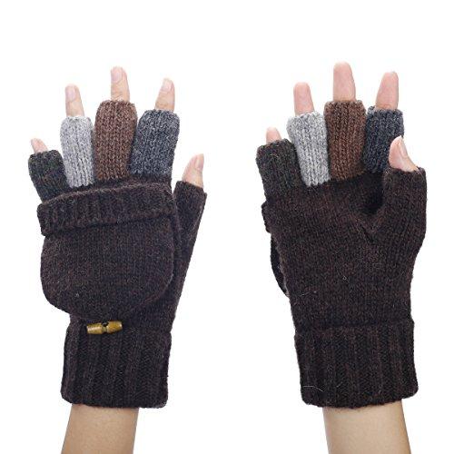 Butterme Herren Wolle gestrickt Cabrio Fingerlose Handschuhe Fahrhandschuhe Fausthandschuh mit Fold Back Pocket (Kaffee)