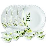 #8: Larah by Borosil Green Herbs Opalware Dinner Set, 14-Pieces, White