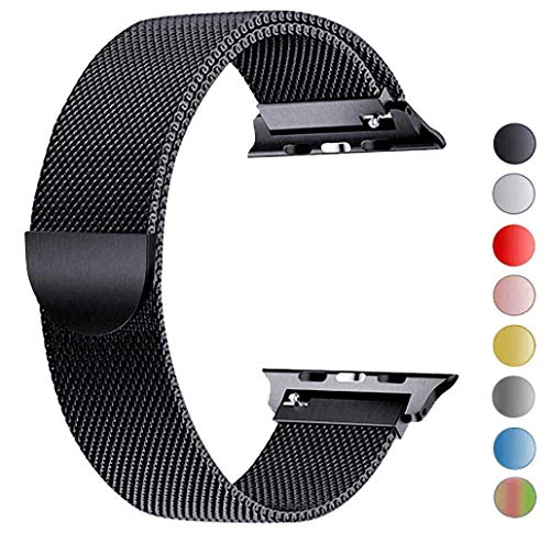 Tervoka Ersatzarmband kompatibel mit Apple Watch Armband 44mm 42mm, Metall Edelstahl Ersatzarmband kompatibel mit iWatch Series 5/4/3/2/1 Schwarz