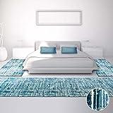 Bettumrandung, Teppich-Läufer Flachflor mit Modernem Design, Gestreiftes Muster in Blau/ Türkis mit Hell-/Dunkel-Effekt für Schlafzimmer, 3-teilig, Läufer-Größen: 2x 80x150 cm, 1x 80x300 cm