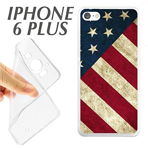 J146 IPHONE 6 PLUS 6+ CARCASA FUNDA TPU BANDERA USA AMERICANA GASTADA CHULA