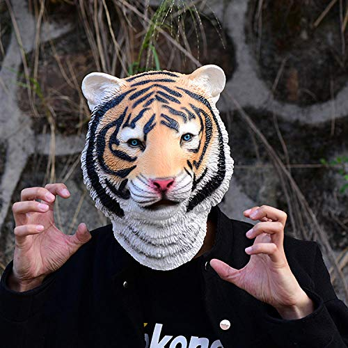 DWcamellia Masken für Erwachsene Tiger Maske Latex Masken Realistische Halloween Kostüm Masken Party Cosplay Tier Maske Rollenspiel Zubehör