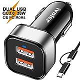 iVoler Dual Quick Charge 3.0 36W 2 Puertos USB Cargador de Coche [2*QC 3.0 Puerto] con Cable 2 en 1 de Micro USB y Tipo C (1m) para Móviles, Tableta, Cargador Portatil, etc. - Negro/Plata