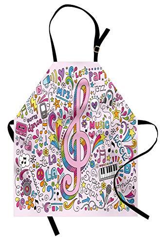 ABAKUHAUS 70er Party Kochschürze, Musik Notenschlüssel Groovy Psychedelic Doodles Hand gezeichnete Hippie Symbole Zeichen Artwork, Höhenverstellbar Maschienenwaschbar Kein verblassen, Mehrfarbig