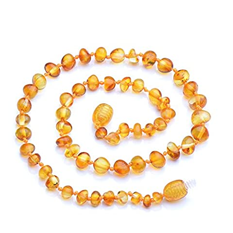 Genuine Baltic Amber Necklace - Honey color - Knotted between beads - Sizes from 28 to 34 CM (30)