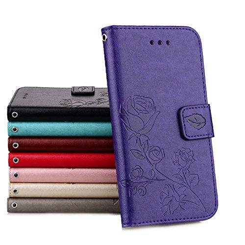 Coque Samsung A3 (2016) Anfire Fleur Motif Peint Mode Coque PU Cuir pour Galaxy A3 (2016) Etui Case Protection Portefeuille Rabat Étui Coque Housse pour Samsung Galaxy A3 (2016) / SM-A310F (4.7 pouces Pourpre