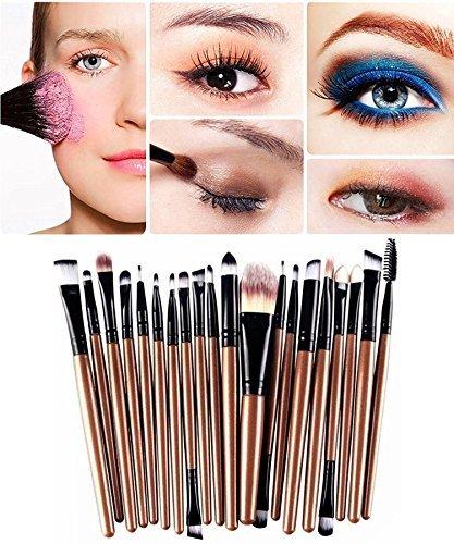 Demarkt Pro Wool Make Up Brush Set 20 pcs Makeup Brush Set tools Make-up Toiletry Kit (Gold)+Nail stickers