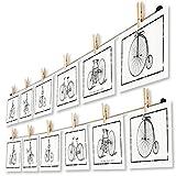 LeTOMA - Fotoseil mit Klammern 2 x 125 cm für Kreative und Schöne Dekoration - Fotoleine aus Naturhanf mit 2 x 10 rustikalen Holzklammern - Bilderseil, Bilderleine mit Wäscheklammern
